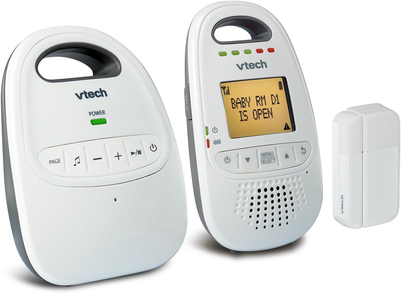 VTech DM251-102 Audio Baby Monitor with Open or Closed Door/Window Sensor, 1,000 ft of Range, 5-Level Sound Indicator, Digitized Transmission & Belt Clip