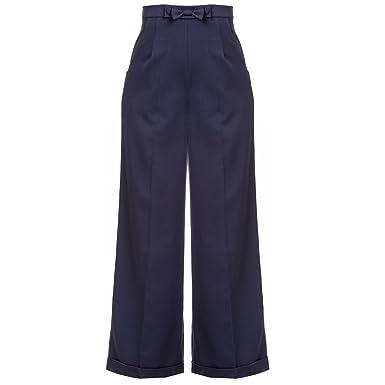 Damen 1940s Style Retro-Vintage Swing Hosen Weites Bein Hohe Taille Hosen  mit exklusiver Starlet 0e4a005acb
