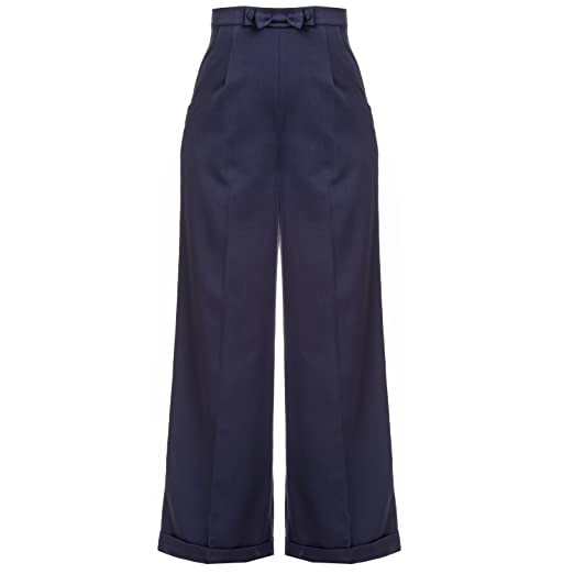 Vintage High Waisted Trousers, Sailor Pants, Jeans Womens 1940s Style Retro Vintage Swing Trousers Wide Leg High Waist Slacks Excellent Quality £29.99 AT vintagedancer.com
