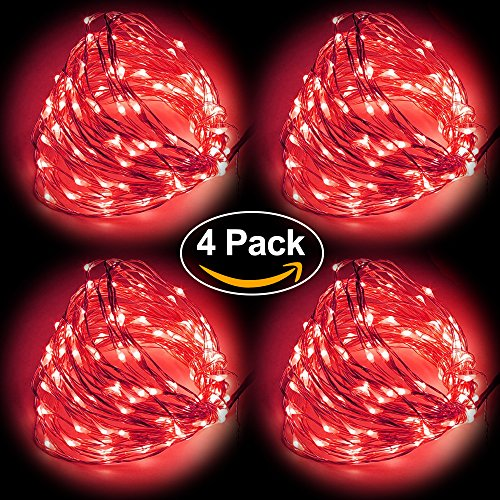 HIOTECH LED Lights 4 Packs with Remote Control Waterproof Lights 100 LEDs for Outdoor Decoration, Christmas, Party, Wedding, Ceremony, Celebration Decoration 33ft UL Listed (Red) Remote Control Floating Lantern