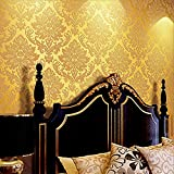 Blooming Wall Elegant European Style Luxury 3D Damask Pearl Powder Wallpaper Roll, 57 Sq.ft/Roll