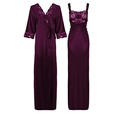 a758af38298f1 The Orange Tags Womens Satin Long Nightdress Lace Detailed: Amazon.co.uk:  Clothing