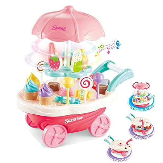 Kids SimulationToys, Ice Cream Candy Cart Juego de simulación Food Dessert Candy Trolley de Juguete con música y luz para niños Best Gift: Amazon.es: Ropa y ...