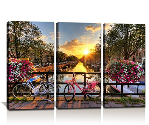 Noah Art-Street Art Print Post Sunrise Over an Amsterdam River Modern Cityscape Artwork Street Paintings on Canvas 3 Panel Stretched Street Wall Art for Living Room Wall Decor, 14x28inchx3pcs