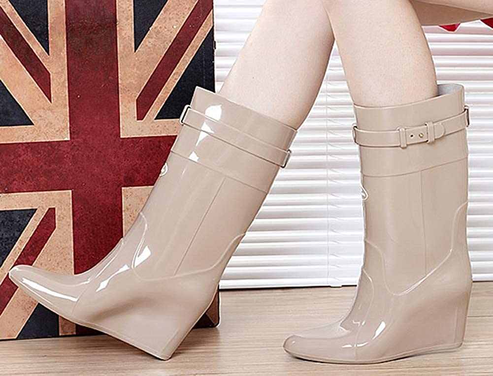 High Heel Wedge Mid Calf Rain Boots
