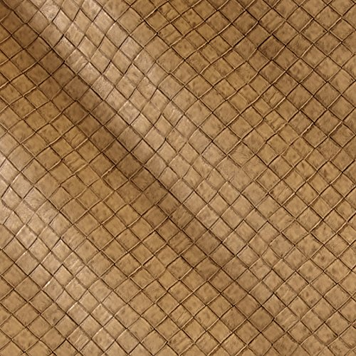(Plastex Fabrics Faux Leather Tile Basketweave Fabric by The Yard, Toast)