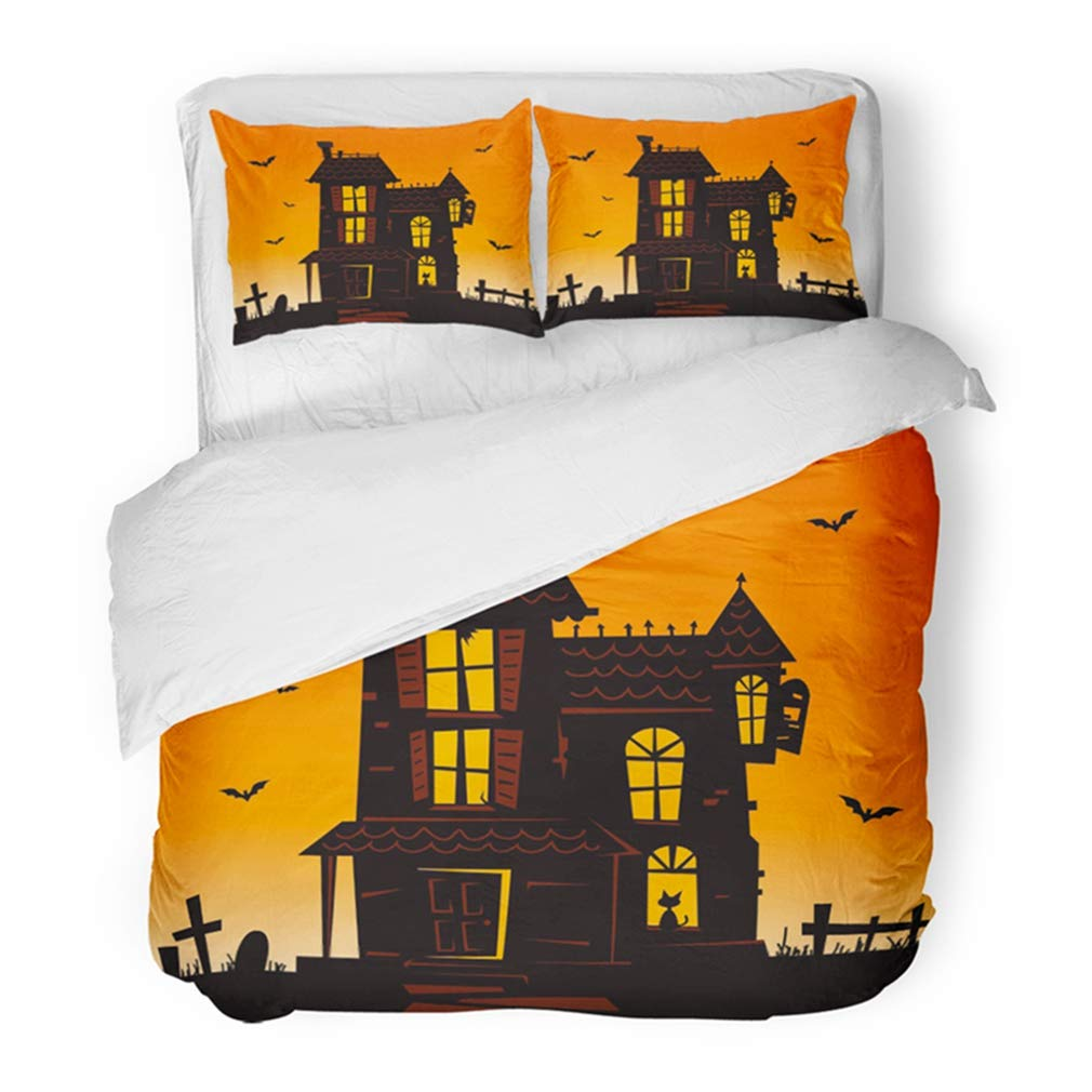 Emvency Bedding Duvet Cover Set Twin (1 Duvet Cover + 1 Pillowcase) Orange Halloween Haunted Mansion Spooky House Blue Bats Cat Night Window Black Fence Hotel Quality Wrinkle and Stain Resistant