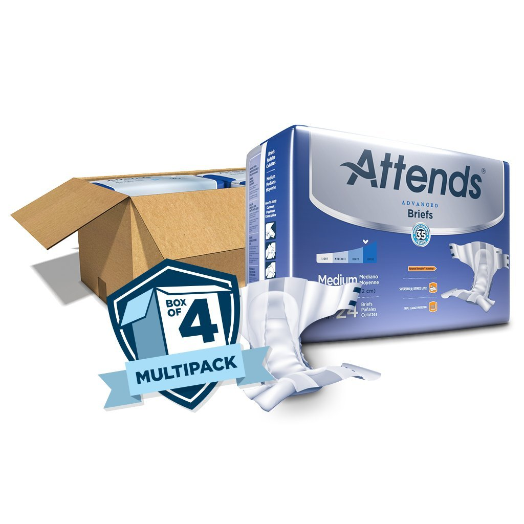 Amazon.com: Attends Advanced Briefs with Advanced Dry-Lock Technology for Adult Incontinence Care, Medium, Unisex, 24 count (Pack of 4): Health & Personal ...
