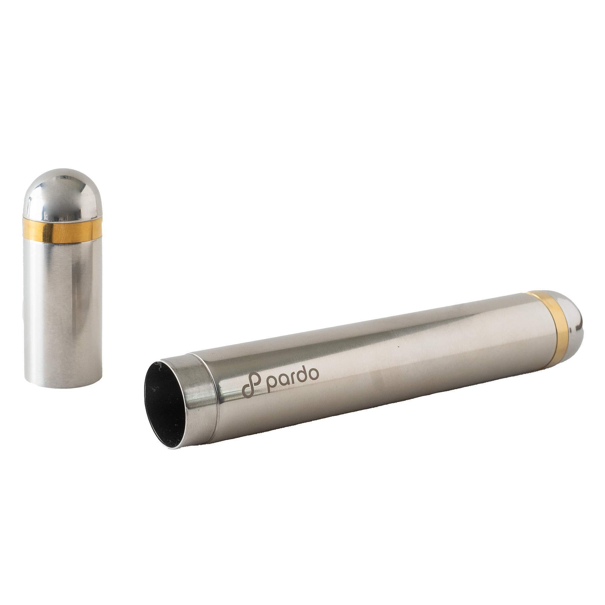 Pardo Cigar Tube - Stainless Steel PortableTravel Case - Large Ring Gauge Cigars