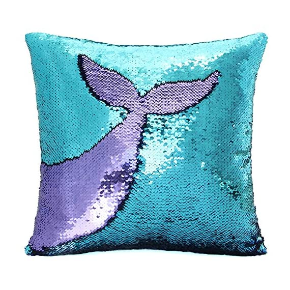 Basumee Sequin Pillow with Insert, 16x16 in Magic Reversible Sequins Cushion for Home Décor (Aqua and Light Purple) -  - living-room-soft-furnishings, living-room, decorative-pillows - 61qsmIqmV L. SS570  -