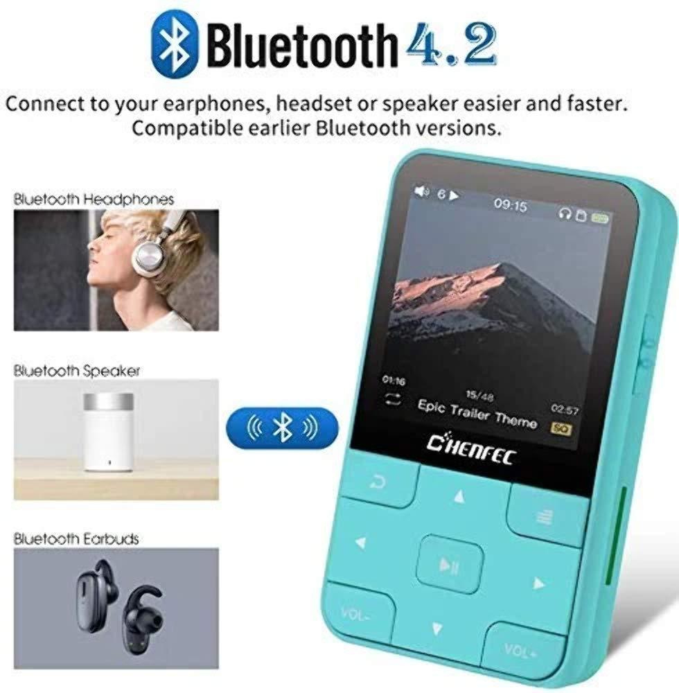 est/éreo soporta hasta 64 GB Color Negro CFZC Reproductor de m/úsica de 8 GB con Bluetooth y Clip para Deporte con grabaci/ón FM sin p/érdida