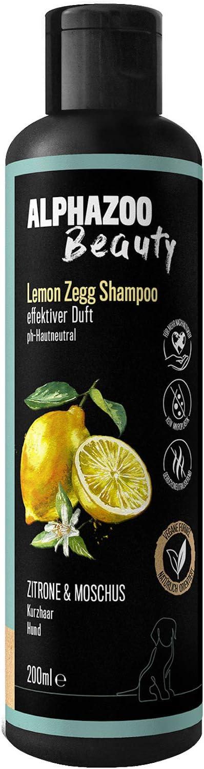 alphazoo Champú para perros Lemon Zegg, 200 ml, cuidado del pelaje contra olores con limón, almizcle y coco, orgánico y vegano, pH neutro, sin parabenos ni siliconas, champú natural para perros