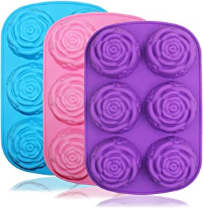 SENHAI Large Rose Flower Silicone Tray for Cake Bread Pudding Chocolate Muffin Soap, 6-Cavity 3D Ice Cube Handmade Molds- Purple & Blue & Pink