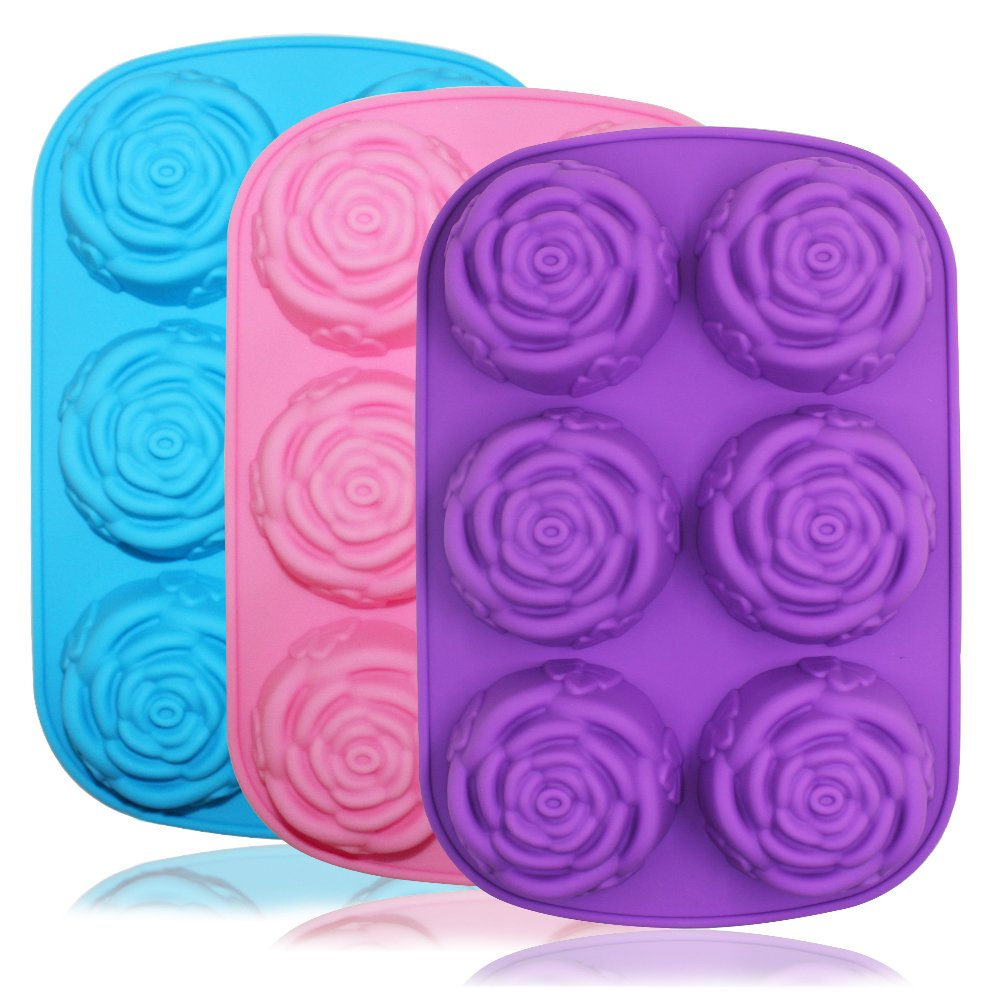 Large Rose Flower Silicone Tray for Cake Bread Pudding Chocolate Muffin Soap, SENHAI 6-Cavity 3D Ice Cube Handmade Molds- Purple & Blue & Pink 4336902439