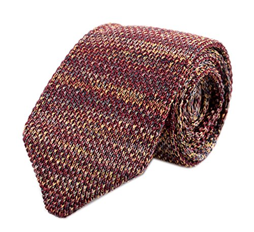 Secdtie Mens Knit Tie Modern Thin Woven Groomsmen Wedding Necktie, Red