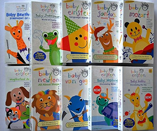 Baby Einstein Set of 10 VHS: Baby Beethoven, Shakespeare, Language Nursery, Santa's Music Box, Mozart, Neighborhood Animals, Newton, Van Gogh, Neptune & Baby Galileo [VHS Tape] Baby Santas Music Box