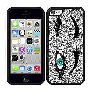 Funda carcasa TPU (Gel) para Apple iPhone 5C diseño guiño ojos verde fondo efecto purpurina borde negro