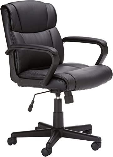 AmazonBasics Leather-Padded, Adjustable, Swivel Office Desk Chair with Armrest