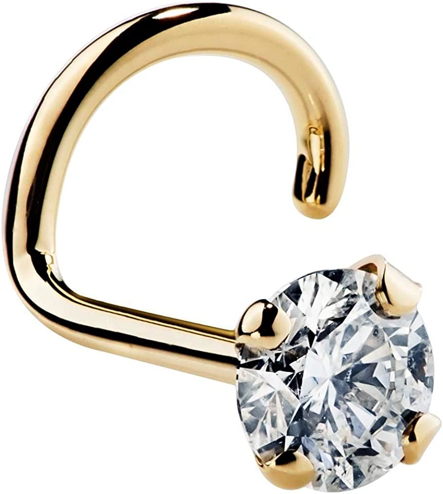 FreshTrends Genuine Diamond Nose Stud 14K Yellow Gold Nose Ring Twist Screw - 18 Gauge I1 Clarity