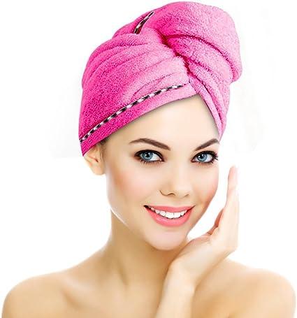 Asciugamano da Bagno in Microfibra per Capelli secchi e Asciugatura Rapida Verde GIVBRO Cappello per Capelli secchi