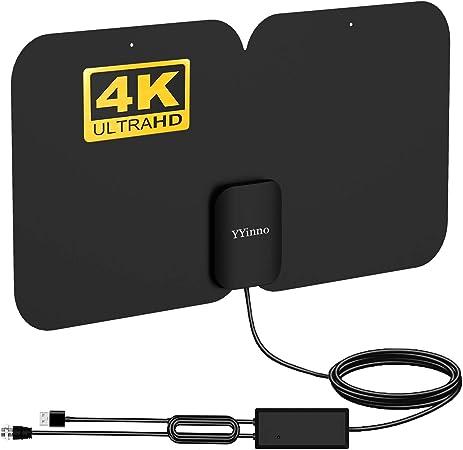 Antena de TV para Interiores, Antena HDTV TV Digital HD 4K, Rango máximo de 80 Millas, con Potente Amplificador de señal y Cable coaxial de 16.5 pies
