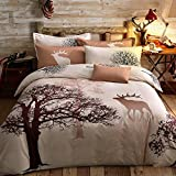 Svetanya Tree Deer Printed Pattern Duvet Cover Set Flat Sheet Pillow Cases 500TC 100% Soft Cotton Fabric Queen Size Bedding Sets