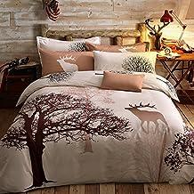 Svetanya Tree Deer Printed Pattern Duvet Cover Set Flat Sheet Pillow Cases 500TC 100% Soft Cotton Fabric Queen Size Bedding Sets