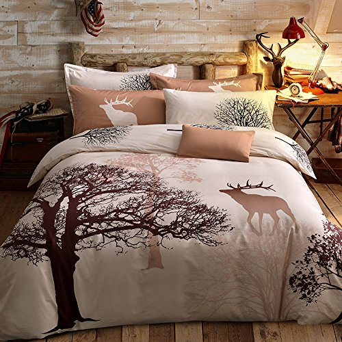 Svetanya Tree Deer Printed Pattern Duvet Cover Set Flat Sheet Pillow Cases 500TC 100% Soft Cotton Fabric Queen Size Bedding (Deer Bed Set)