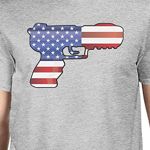 Mens Courtes Pistol Manches Printing 365 Homme shirt Flag Grey Unique Taille Shirt American T wqwPxHR