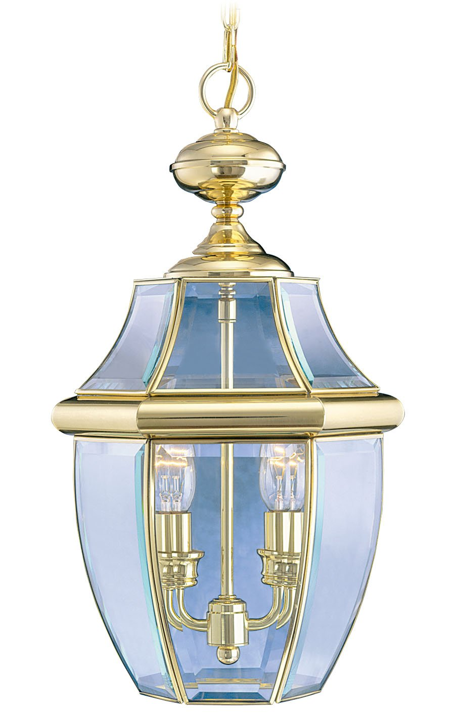 Livex Lighting 2255-02 Monterey 2-Light Outdoor Hanging Lantern, Polished Brass
