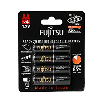 Fujitsu AA NiMH 2450mAh Pre-Charged Rechargeable Battery Pack of -  HR-3UTHCEX(4B)