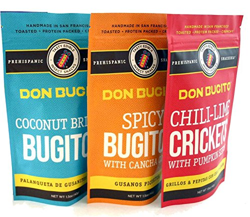 Don Bugito Planet-Friendly Edible Insect Protein Snacks (3 - Pack Variety)