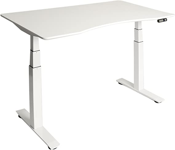 White Seville Classics Ergo Desk Table Top with Beveled Bottom Edges 54 x 30