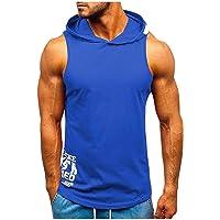 Leaf2you - Camiseta sin mangas para hombre, con capucha, diseño de letras