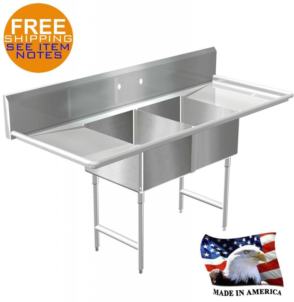 POT SINK 2 COMPARTMENT STAINLESS S. NSF APPROVED HEAVY DUTY 16GA MADE IN AMERICA by BSM