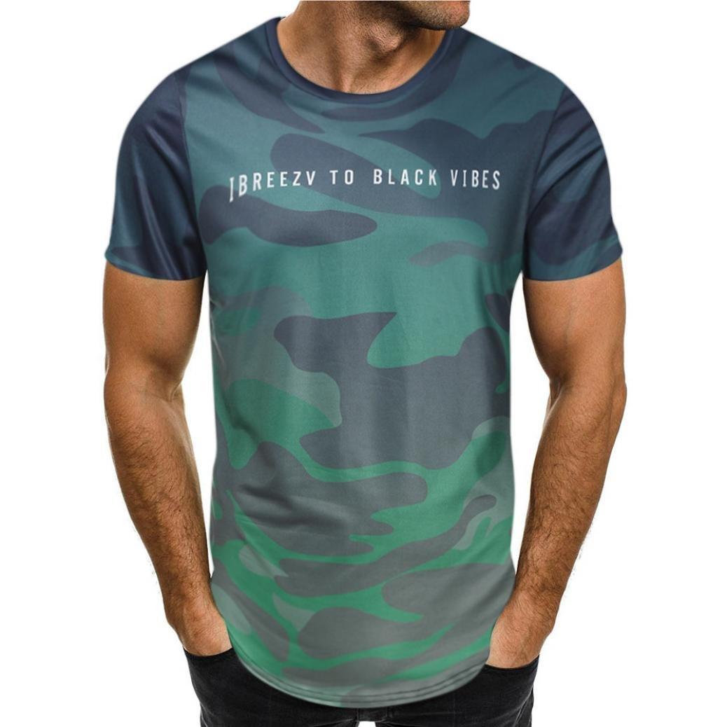 ZARLLE Camiseta Hombre, Personalidad De La Moda Camuflaje Hombres Casual Slim Camisa De Manga Corta Top Blusa Camisa De Manga Corta De Camuflaje Slim Fit ...