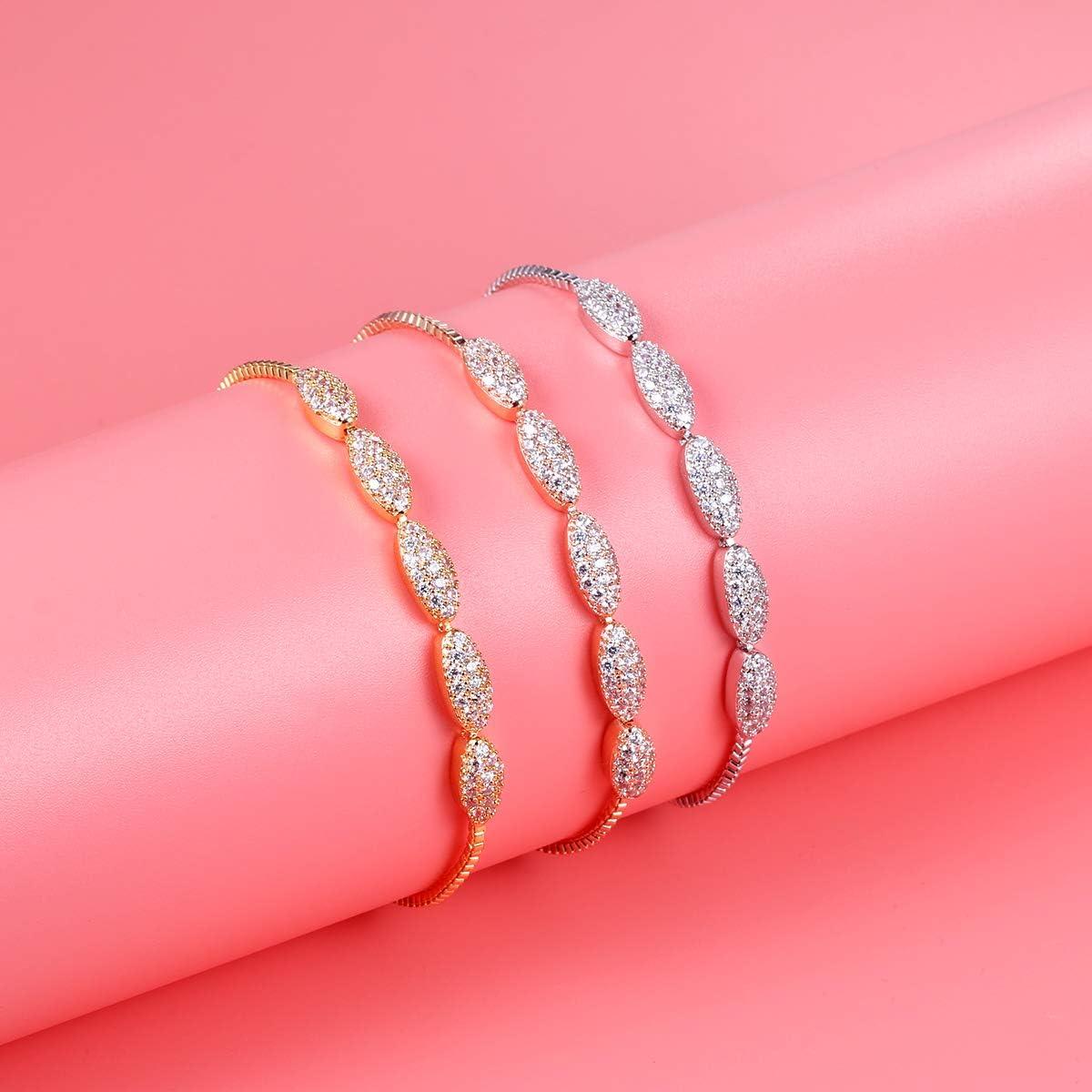 WeimanJewelry Shiny Cubic Zirconia Oval Shape Adjustable CZ Marquise Bridal Bracelet for Women Wedding