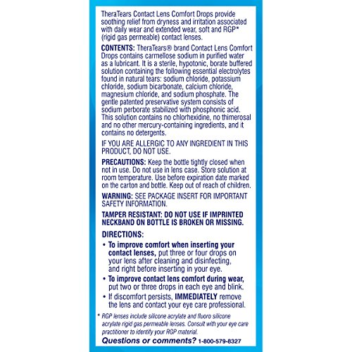 TheraTears Eye Drops for Contacts, Contact Lens Comfort Rewetting Eyedrops for Dry Eyes, 0.5FL OZ(15mL)