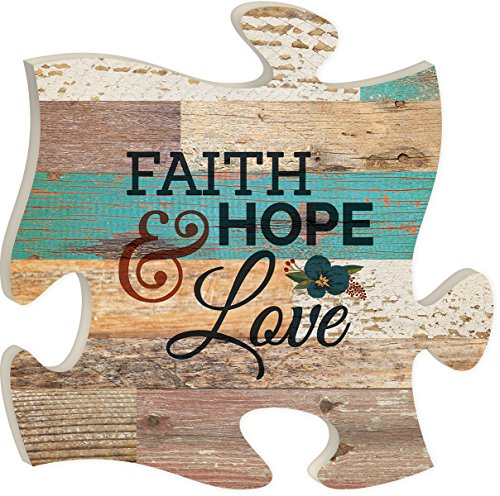 Faith Hope & Love Multicolor  Wood Wall Art Puzzle Plaque