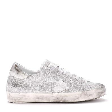 23d8fd3b8694 Amazon.com | Philippe Model Women's Paris Silver Glitter Sneaker | Fashion  Sneakers