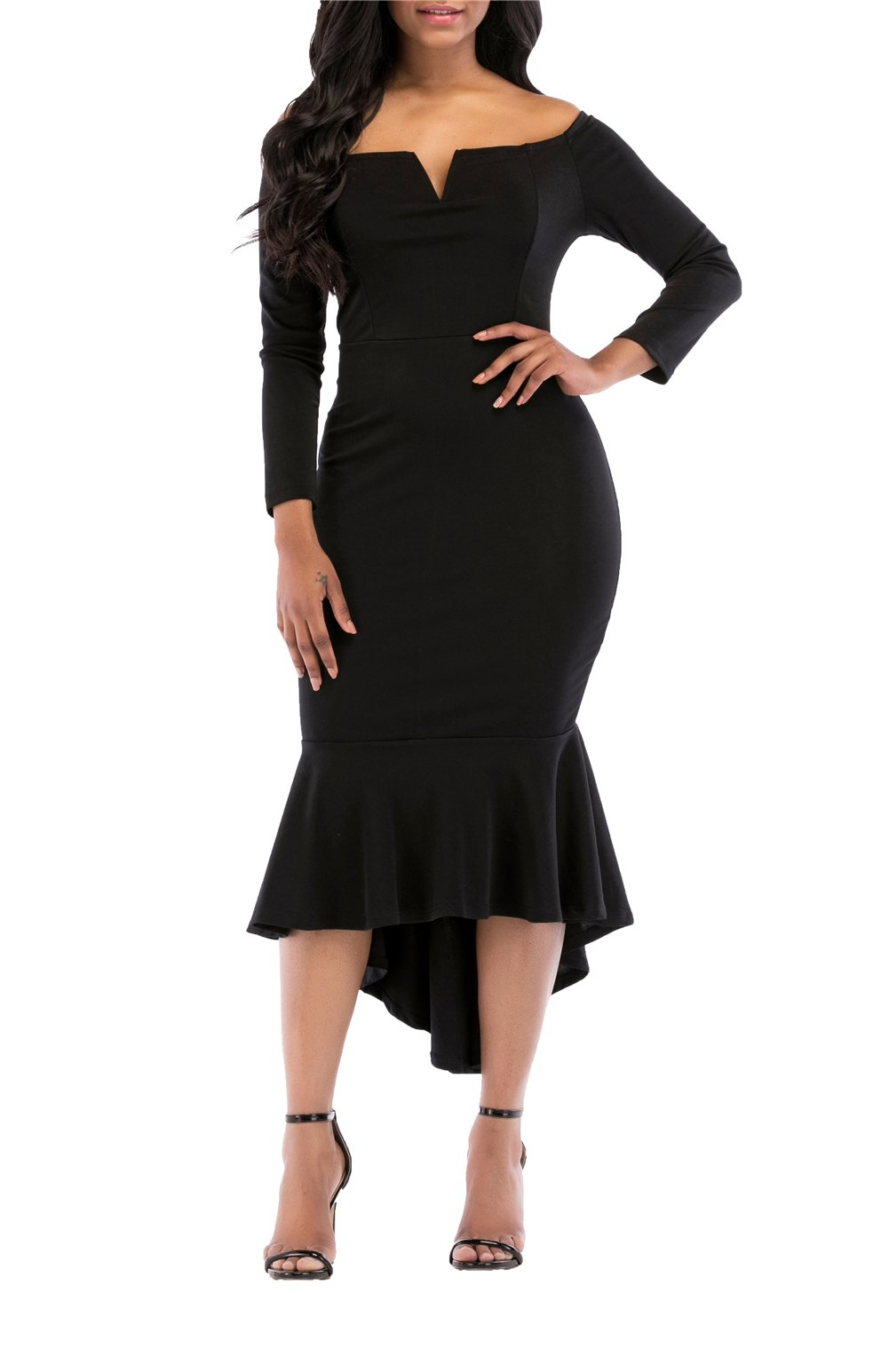ONLYSHE Women's Swallowtail Skirt Wear To Work Prom Dress Pencil Dress Long Sleeves Black XX-Large