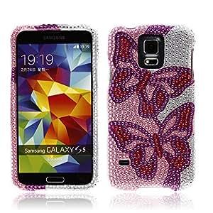 NextKin Samsung Galaxy S5 G900 Bling Crystal Full Rhinestones Diamond Case Protector - Two Pink Purple Butterflies