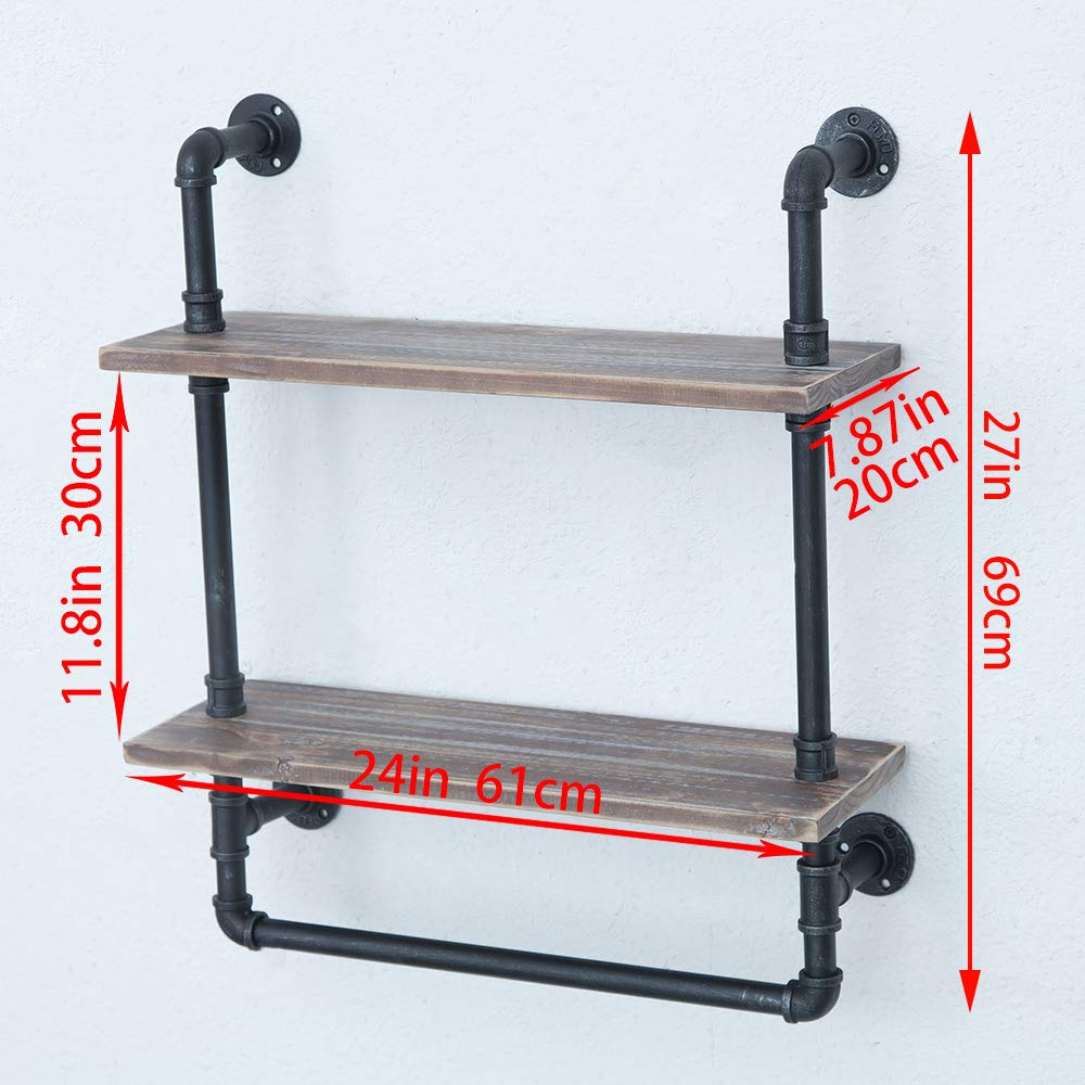Industrial Bathroom Shelves Wall Mounted 2 Tiered,Rustic 24in Pipe Shelving Wood Shelf With Towel Bar,Black Farmhouse Towel Rack,Metal Floating Shelves Towel Holder,Iron Distressed Shelf Over Toilet by Industrial Furniture (Image #3)