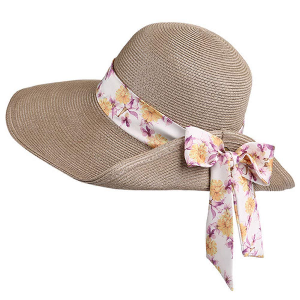 2 JINRMP Floral Bowknot Sun Visors Cap Wide Brim Lady Women Summer Sun Hats Beach Hats for Girls Straw Hat