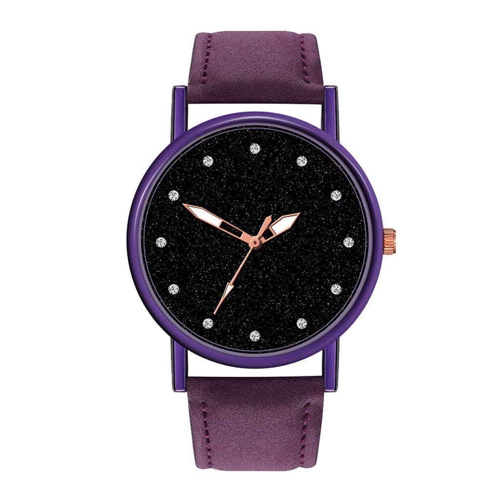 Toponly Luxury Quartz Wrist Watches for Women Casual Bracelet Stainless Steel Dial with Leather Band