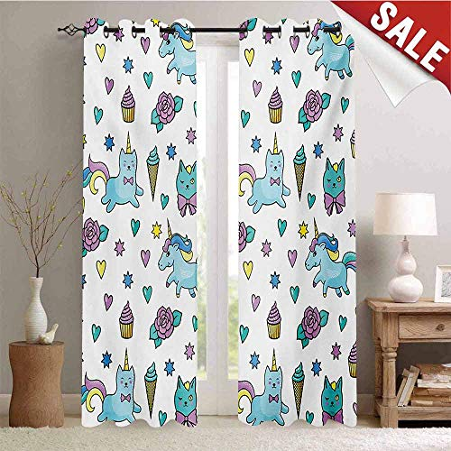 Unicorn Cat Decor Curtains by Girls Pattern with Hearts Stars Flowers Ice Cream Cute Funny Room Darkening Wide Curtains W84 x L96 Inch Pale Blue Lavender Yellow