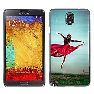 TopCaseStore / la caja del caucho duro de la cubierta de protección de la piel - Dancing Red Skirt Girl Exercise Nature Sky - Samsung Galaxy Note 3 N9000 N9002 N9005