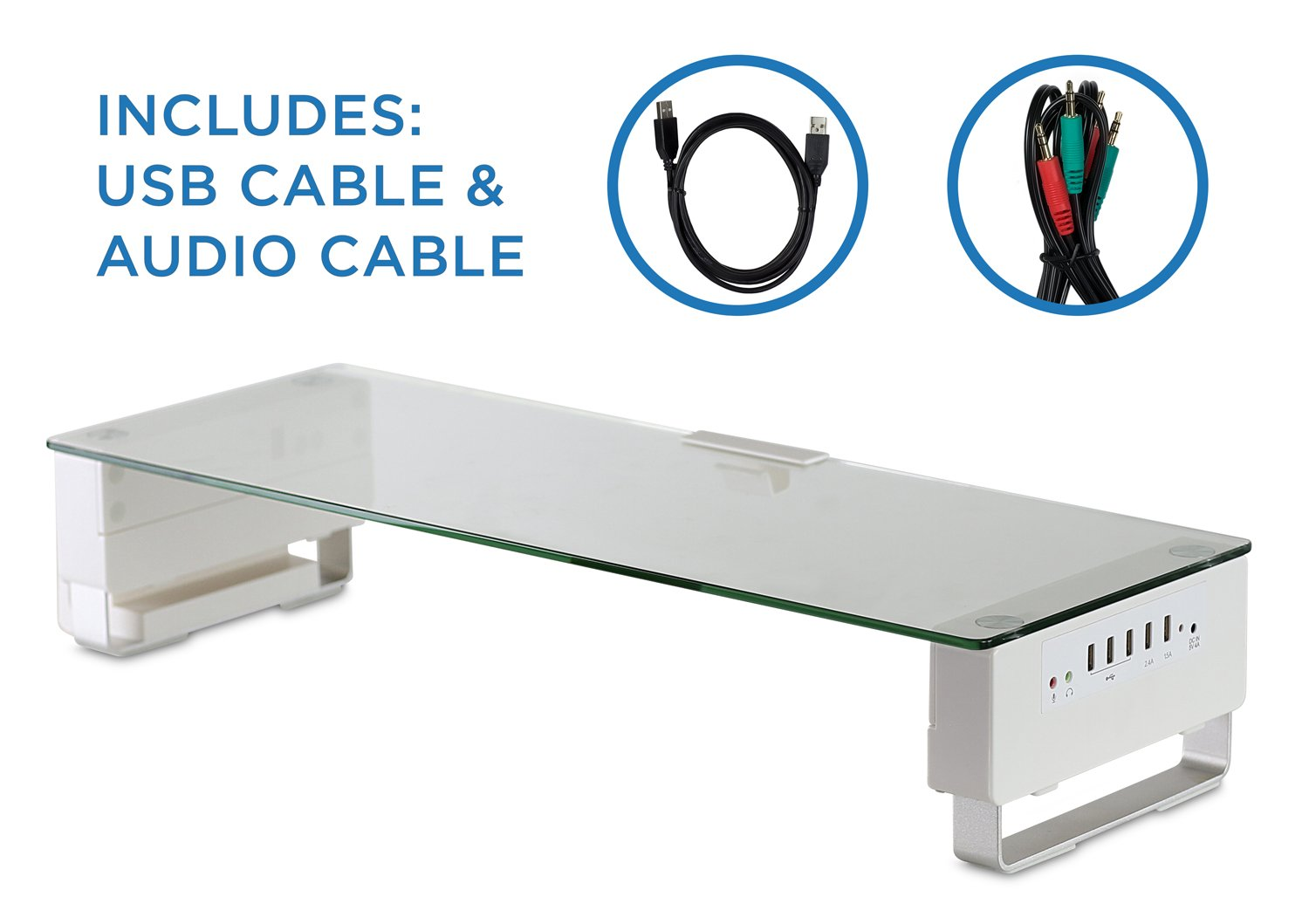 Computer Monitor Stand with 5 USB Ports Desktop Riser, Clear Tempered Glass, Fits 24, 27, 30, 32 Inch Screens, 66 Lbs Capacity