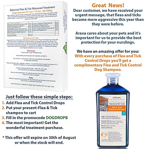 Arava Flea & Tick Control Drops Treatment for Dogs (4-Doses) – Natural, Aromatherapy Medicated. Repels Pests with Natural Oils – Safe on Skin and Coats – Enhanced Defense & Prevention (3 Variations)