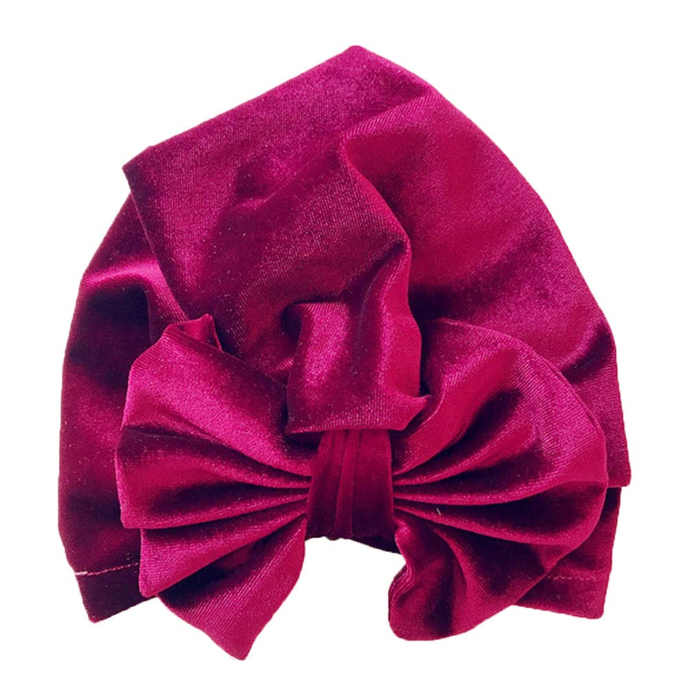 Naiflowers Fashion Children Girl Simple Cute Bowknot Warm Gold Velvet Beanie Hat Headwear